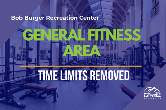 Bob Burger Recreation Center play general fitness area time limits removed